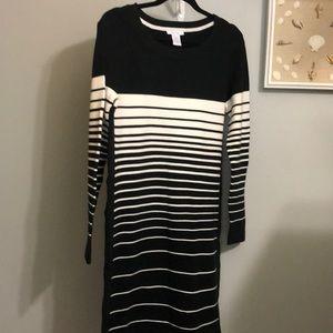 NEW Joan Vass Stripe Sweater Dress
